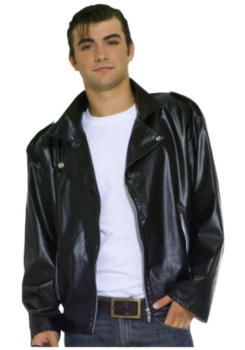 Mens Grease T-Birds Jacket Stag Do Night Party Film Movie Fancy Dress Costume Outfit (Large) Black