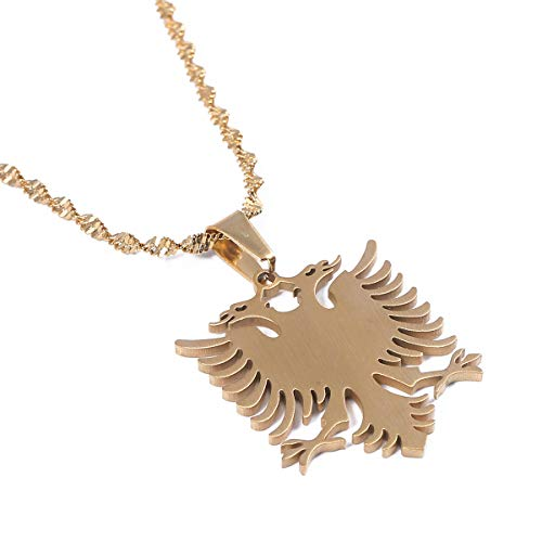 Albania Eagle Pendant Necklaces Gold Color Stainless Steel Jewelry Ethnic Gifts (Gold)