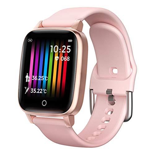 HJKPM Smartwatch De Los Hombres, Termómetro Medición De La Temperatura Corporal Reloj Inteligente con Frecuencia Cardíaca Presión Arterial ECG Función De Detección,Rosado