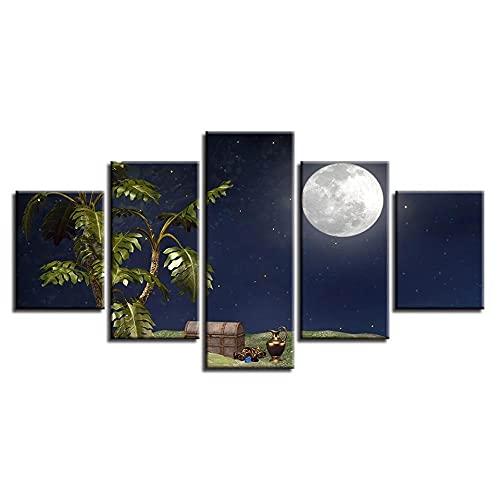 ARIE 5 Piezas Cuadro Árbol Cofre del Tesoro Luna Vista Nocturna 5 Piezas Impresión En Lienzo Tablero del Moderno Cuadro De Pintura Póster De Arte Sala De Decoración Hogareña