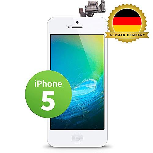 GIGA Fixxoo kompatibel mit iPhone 5 LCD Touchscreen Retina Display Ersatz in Weiß für Einfache Reparatur, FaceTime Kamera (kein Set)