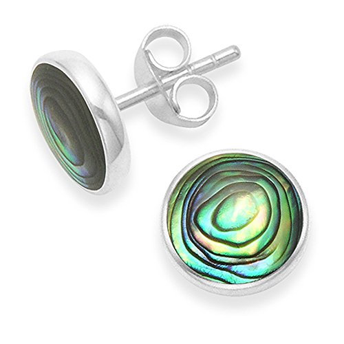 Sterling Silver Paua shell Earrings - Round Paua studs with flat silver back - Size 10mm. Gift boxed silver Paua shell stud earrings 5781PS.