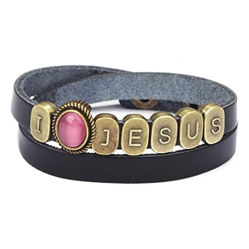 Yinew Brief Leder Armband Vintage Opal Edelstein Punk Armband Persönlichkeit Armreif Wrap Manschette Schmuck für Frauen, schwarz