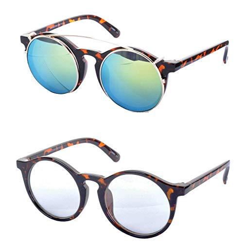 Minimum Mouse Maxwell Abnehmbare Gläser Runde Sonnenbrille - Schildkrötenpanzer Rahmen/Grüne Linse, One Size