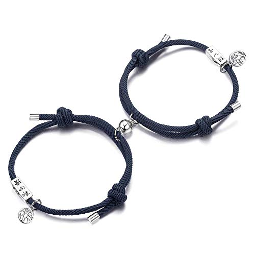 Adramata Couple Magnetic Bracelet Adjustable Mutual Attraction Weave Rope Braided Charm Pendants Bracelet with Magnetic Bells Vows of Eternal Love Bracelet for Women Men Gift