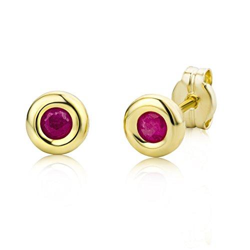 Miore Ohrringe Damen Gelbgold 9 Karat / 375 Gold Ohrstecker  Rubin