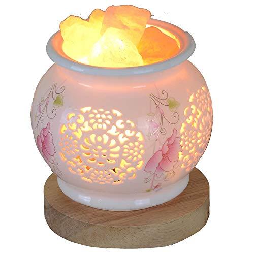 ZHHk Lámpara de Mesa zhhhk Lámpara De Sal De Cristal Lámpara De Mesa De Cerámica De Regalo De Luz Cálida De Noche Lámpara De Mesilla De Noche/Lámpara De Sal