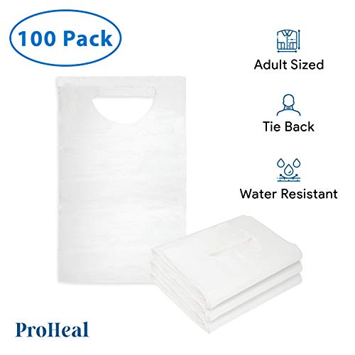 Disposable Adult Bibs, 100 Pack - Tie Back, 16' x 33' - Absorbent Tissue Front, Water Resistant Poly Backing - Clothing Protectors for Eating, Dental Apron, Senior Citizens, Babies - White - ProHeal