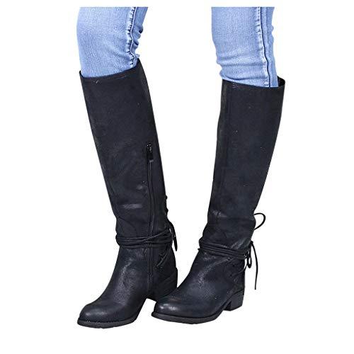 DNOQN Damen Lange Stiefel Mode Leopard Kreuz Krawatte Reißverschluss Booties Freizeit Schuhe Schwarz 40