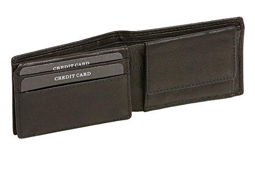 LEAS Damen und Herren Klassische Minibörse RFID-Schutz Mini Scheintasche mit Klappe extra flach im Querformat Echt-Leder, schwarz