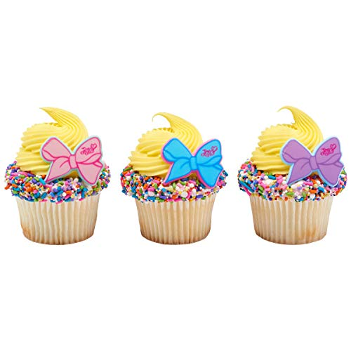 24 JoJo Siwa Cupcake Rings Toppers Party Supplies