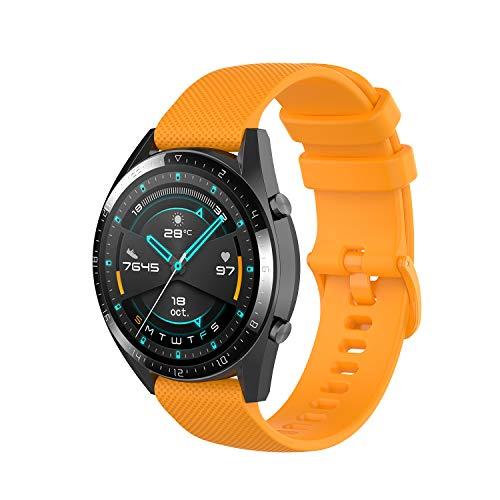 Wownadu 22MM Correa Compatible con Fossil Gen 5, Galaxy Watch 3 45MM Correa, Pulsera Deportiva Silicona Amarillo Repuesto Compatible con Garmin Vivoactive 4 (Sin Reloj)