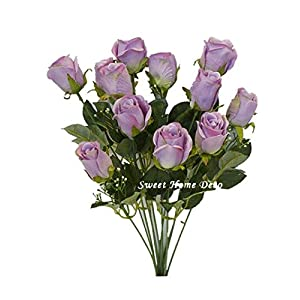 "Sweet Home Deco 18"" Silk Rose Bud Artificial Flower Bush (12 Stems/12 Flowers) Wedding Home Decoration"