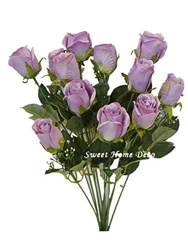 Sweet Home Deco 18'' Silk Rose Bud Artificial Flower Bush (12 Stems/12 Flowers) Wedding Home Decoration (Lavender)