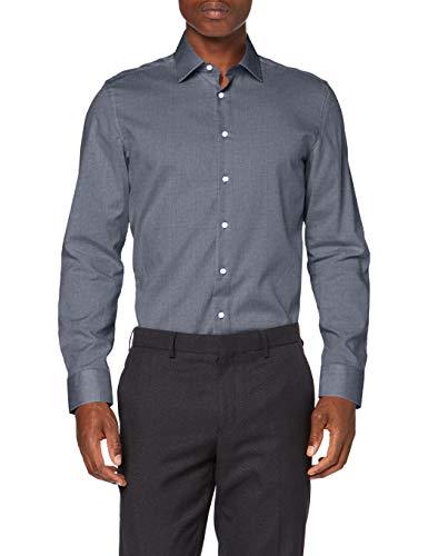 Seidensticker Herren Business Hemd - Bügelfreies, schmales Hemd - Slim Fit - Langarm - Kent-Kragen - 100% Baumwolle,Dunkelblau,40