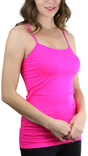 ToBeInStyle Women's Fitted Spaghetti Strap Camisole - Hot Pink - One Size