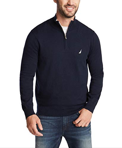Nautica Men's Navtech Quarter-Zip Sweater, Navy, Small