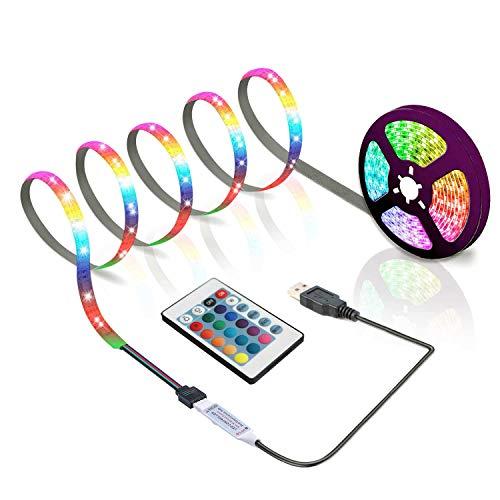 BIHAND 3.28ft USB LED Strip Lights, USB Rope Lights with 24 Keys Remote, DIY Indoor Decoration