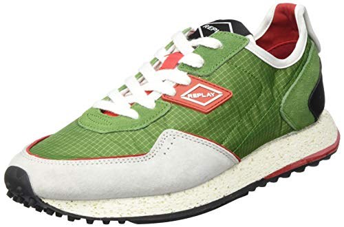 REPLAY Herren R-81 Sneaker, Mehrfarbig (1636 Green Red), Mehrfarbig (1636 Green Red), 44 EU