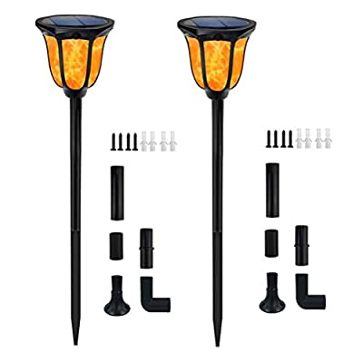 HOTLIFE Solar Torches Lights Waterproof Dancing Flame Outdoor Lighting Landscape Decoration Lighting 96 LED Solar Powered Path Lights Dusk to Dawn Auto On/Off for Garden Patio Yard