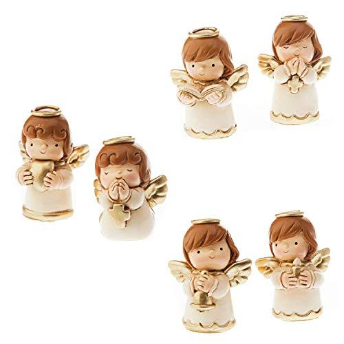 Dell'Arte Artículos Religiosos - Juego de 12 figuras de ángel de la guarda (2 por objeto) pintadas a mano 4,5 cm - Navidad SRL