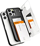 Goospery Magnetic Door Bumper Compatible with iPhone 13 Pro Max Case, Card Holder Wallet Case, Easy Magnet Auto Closing Protective Dual Layer Sturdy Phone Back Cover (White) IP13PM-MDB-WHT
