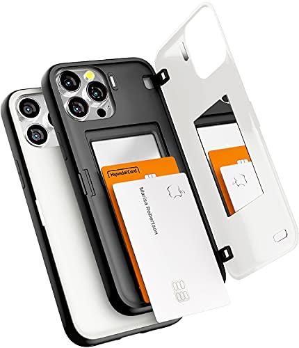 Funda Goospery magnética Parachoques de Puerta Compatible con iPhone 13 Pro MAX, Carcasa Protectora de Doble Capa para Tarjetero con Espejo Oculto (Blanco)