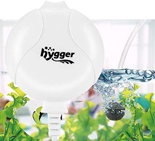 hygger Sauerstoffpumpe für Aquarium, Sehr Leise Aquarium Luftpumpe Geräusch niedriger als 33db 1.5W Leistungsstark Sauerstoffpumpe 420Ml/M Geeignet für Fischbecken und Die Nanoaquarien (Weiß)