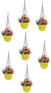 Round Gamla Pot Flower Hanging Round Rattan Woven Plastic Flower Hanging Basket Beautiful Pot for Garden Balcony (7 Pcs, Y...