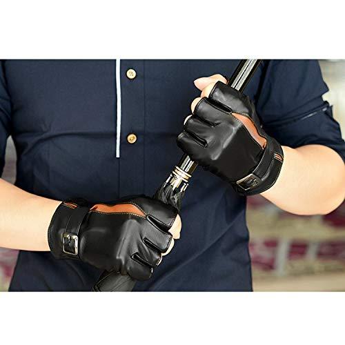 Ywlanlantrading Handschuh Fingerlose halbe Finger der Männer, die Fitness-Motorrad Fahren gefütterte Lederhandschuhe Fahren (Color : Black, Size : L)