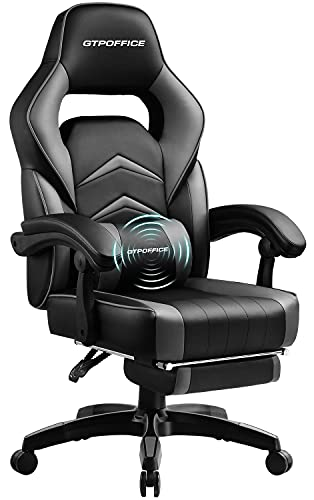 GTPLAYER Massage Gaming Chair with Footrest High Back Ergonomic Computer Office Chair Big and Tall Gaming Chair Racing Chair for Adults with Headrest and Lumbar Support, Gray