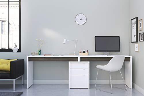 Nexera Chrono 96' Dual Writing Desk Bark Grey/White