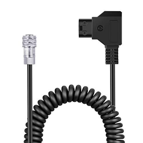 Neewer D-Tap a BMPCC 4K / 6K Cable de Alimentación en Espiral Compatible con Blackmagic Pocket Cinema Camara 4K / 6K Gold Montura V Montura Batería Weipu 2 Pines Hembra a P Tap 16-50 Pulgadas Longitud