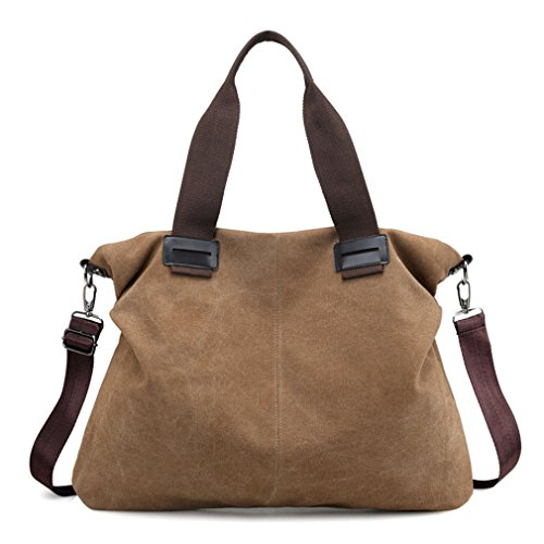 Women's Canvas Large Tote Purses Work Handbags Satchel Shoulder Bag (Brown)