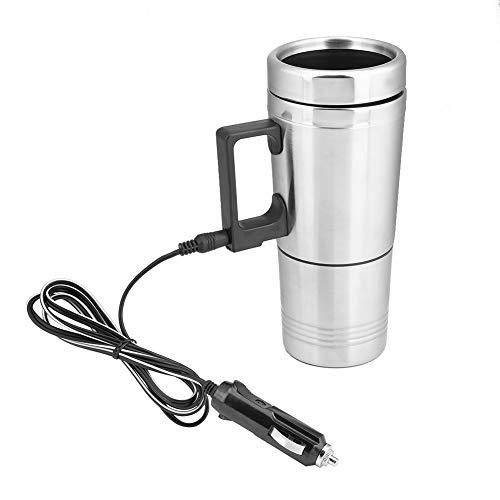 Leinggg elektrische mok - 12V 200ml elektrische roestvrijstalen thermoskan in de auto verwarmingsbeker koffie theekop