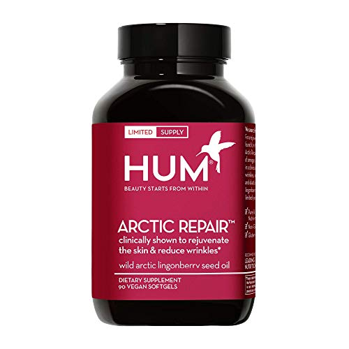 HUM Arctic Repair - Anti-Aging Hydration Supplement - Vitamins A & E Rejuvenate Skin Hydration - Omega 3, 6 & 9 with Lingonberry Seed Oil to Help Diminish Appearance of Wrinkles (90 Vegan Softgels)