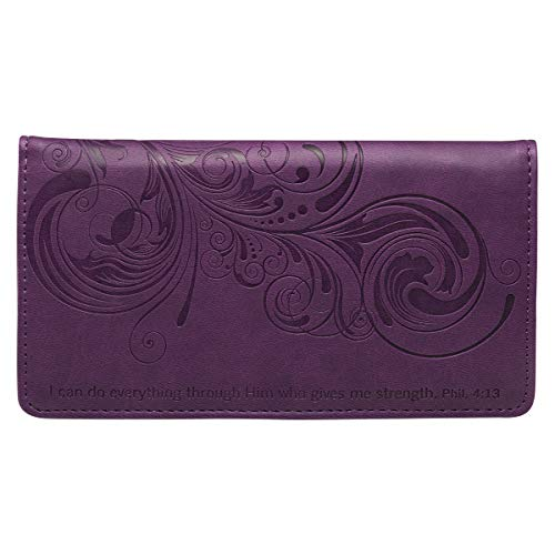 """Checkbook Cover for Women & Men """"I Can Do Everything"""" Christian Purple Wallet, Faux Leather Christian Checkbook Cover for Duplicate Checks & Credit Cards – Philippians 4:13"""""""