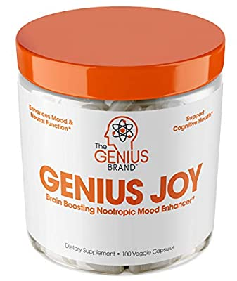 Genius Joy - Serotonin Mood Booster for Anxiety Relief, Wellness & Brain Support, Nootropic Dopamine Stack w/Sam-e, Panax Ginseng & L-Theanine – Natural Anti Stress & Herbal Calm, 100 veggie pills by Genius Supplements