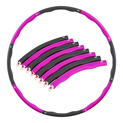 Hula Hoop Reifen Fitness Bauchtrainer Schaumstoff Fitnesstraining 8-teilig abnehmbare Teile 1 kg Pink