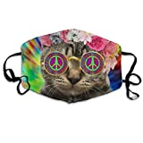 Hippie Cat Kitty Tie Dye Peace Sign Festival Printed Facial Decorations For Women And Men