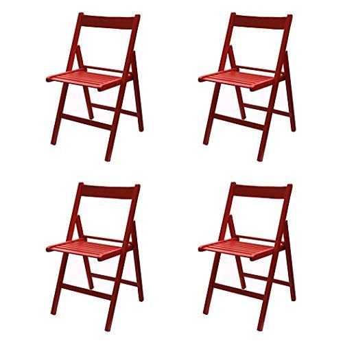 Totò Piccinni Set 4 SEDIE Pieghevoli Legno di Alta qualità, Comode, Resistenti, Salvaspazio (Rosso)