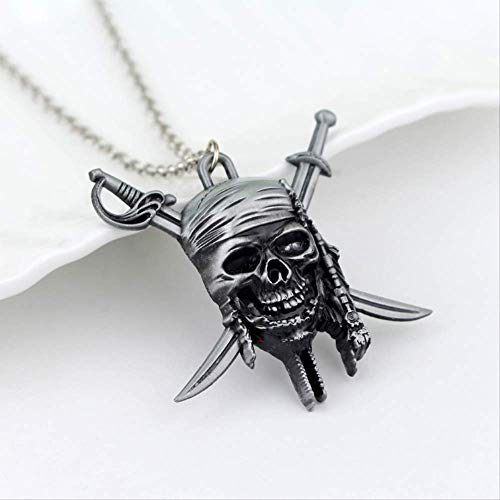 Classic Pirates of The Caribbean Necklace Aztec Coin Gold Vintage Captain Jack Sparrow Open Medal Skull Sliding Pendant Necklace