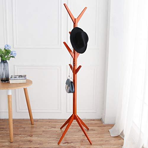 Coat rack Houten kapstok, 8 haken, kledingrek, bouwvloeren, staande hoed en mantelstandaard, kledingrek, kledingrek, 175 cm (H), creatieve boomvloer, massief houten mante