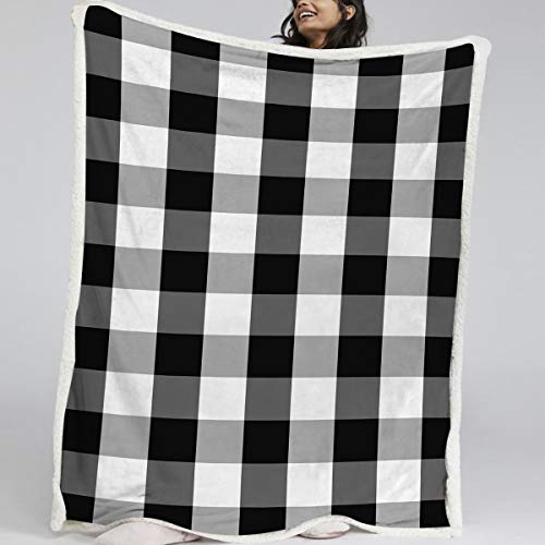 BlessLiving Buffalo Plaid Throw Blanket for Couch Bed - Fleece Black White Gingham Check Decorative Throw - Thick Sherpa Blankets - Home Farmhouse Decor (Throw, 50 x 60 Inches)
