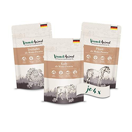 Venandi Animal Premium Nassfutter für Katzen, Probierpaket II, Pferd, Kalb, Truthahn, 12 x 125 g, getreidefrei und naturbelassen, 1.5 kg