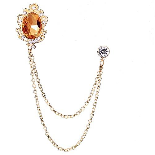 hongruida Broches de cadena de borla de cristal de moda para traje de personalidad, broche de corsé, joyería de lujo para hombres (color metálico: oro amarillo)