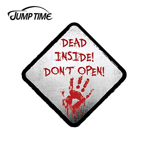 OLUYNG Sticker de Carro 13 cm x 13 cm Muerto Sangriento en el Interior no Abrir Pegatinas de Coche Zombie calcomanía Ventana Envoltura de Vinilo Parabrisas TraseroLcai-1622