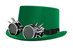 BLACK VICTORIAN TOP HAT WITH BLACK LENSED GOGGLES INCLUDES: GREEN SATIN TOP HAT & SILVER SPIKED GOGGLES WITH BLACK LENSES SIZE: 58 CM - ONE SIZE FITS MOST *PLEASE NOTE: ITEMS ON THIS LISTING ARE EXCLUSIVE TO ILOVEFANCYDRESS, A REGISTERED TRADEMARK - ...