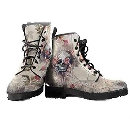 Damen Stiefel Herbst Winter Stiefeletten Flache Schuhe Schnüren Ankle Boots Britische Mode Werkzeugstiefel mit Totenkopf (Color : Grey, Size : 41)