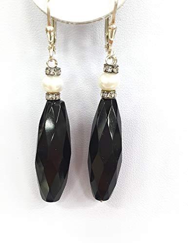 Impresionante collar de piedras preciosas para mujer de ónix negro y brillantes y pendientes a juego.